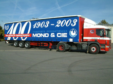 These are sliding curtains with painted lettering for a Transport Mond semitrailer